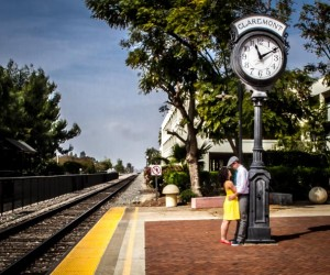 Kristina and Shelby engagement photo at Claremont train station