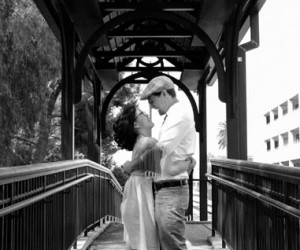 Kristina and Shelby at a Claremont Train Station engagement shoot